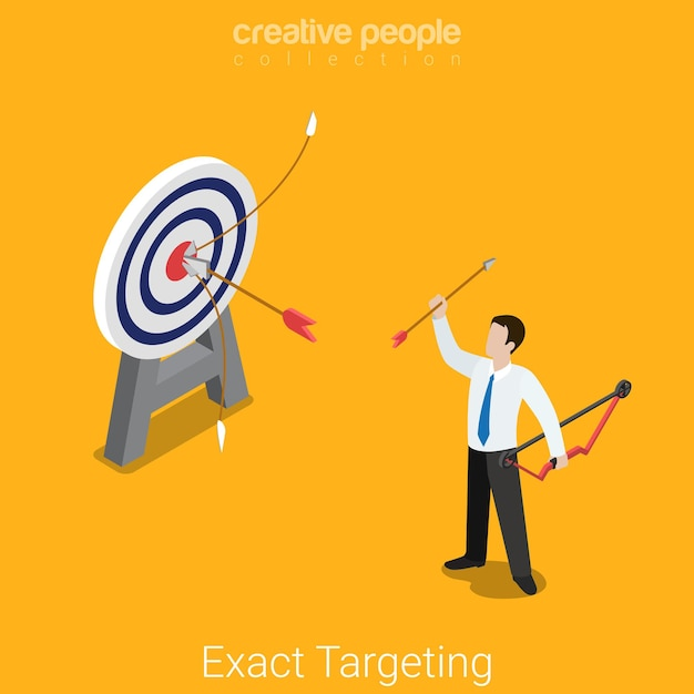 Exact targeting flat isometric marketing market research product placement business concept  happy successful businessman archer target. Free Vector