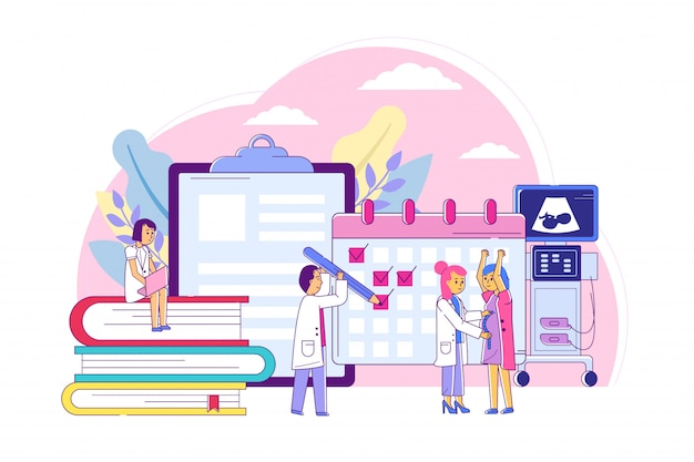 Examination pregnant women, consultation with specialist obstetrician line  illustration. keeping medical pregnancy calendar Premium Vector