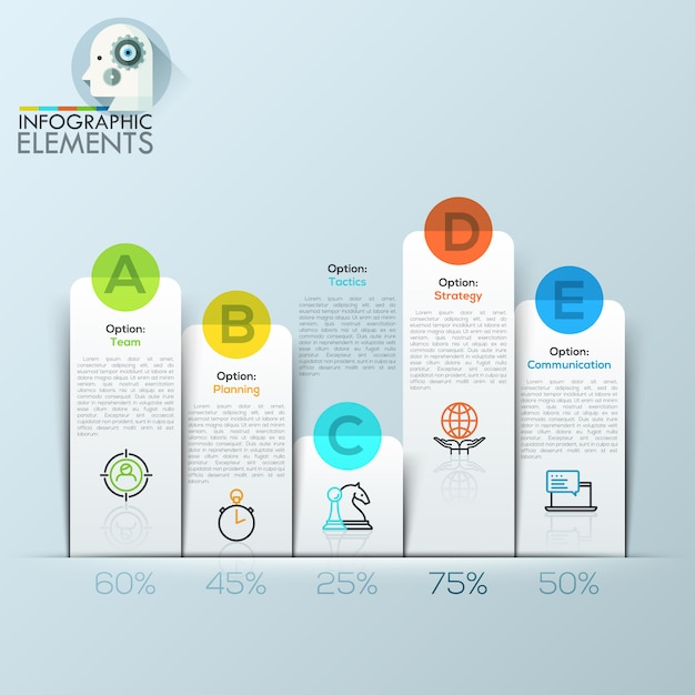 Example of business flat infographic chart. Premium Vector