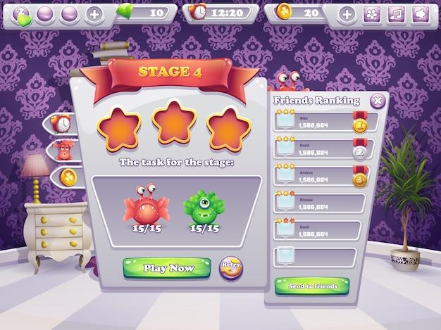 コンピュータゲームのモンスターのレベルで実行するタスクの例 Premiumベクター