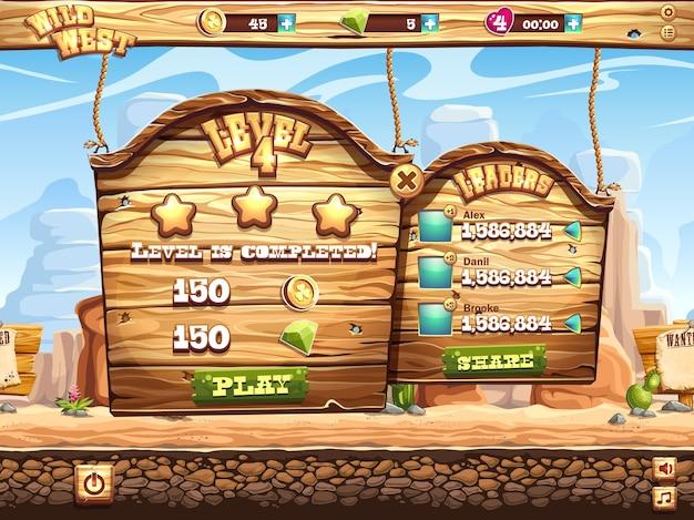 Пример окна игры: пройдите уровень и получите награды за игру на диком западе Premium векторы