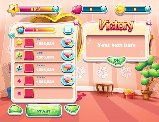 An example of one of the screens of the computer game with a loading background bedroom princess, user interface and various element. set 3 Premium Vector