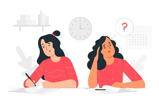 two girls during a scholar test illustration