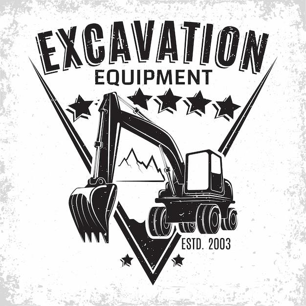 発掘作業のロゴデザイン Premiumベクター