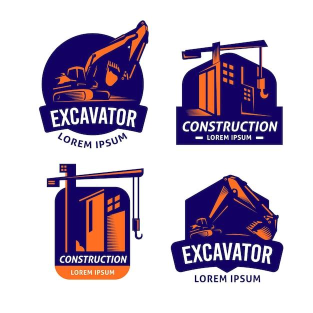 掘削機と建設のロゴセット 無料ベクター
