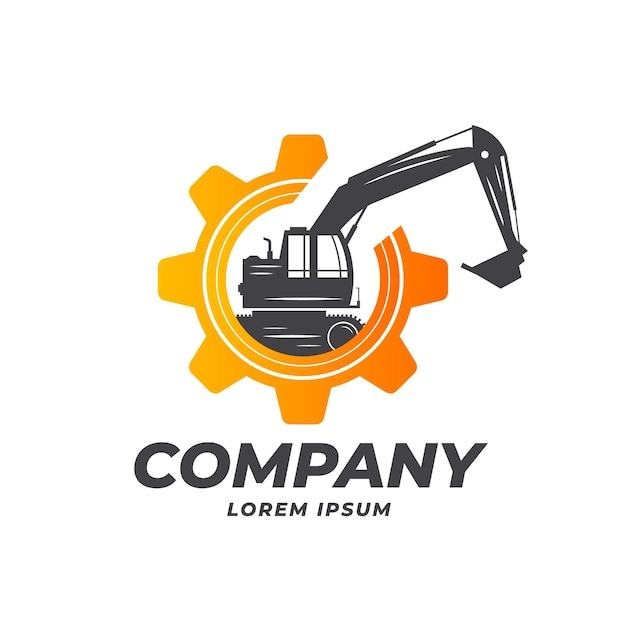 ギアとショベルと建設のロゴのテンプレート 無料ベクター