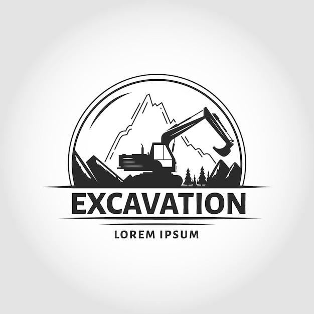 山の掘削機と建設のロゴのテンプレート 無料ベクター