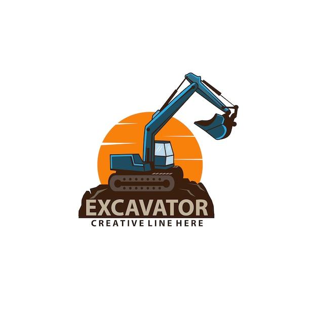 掘削機と太陽 Premiumベクター