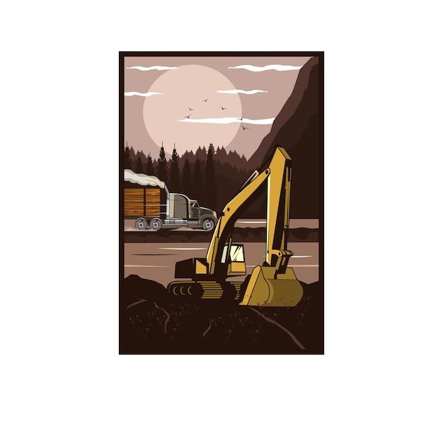 掘削機と大型トラック Premiumベクター