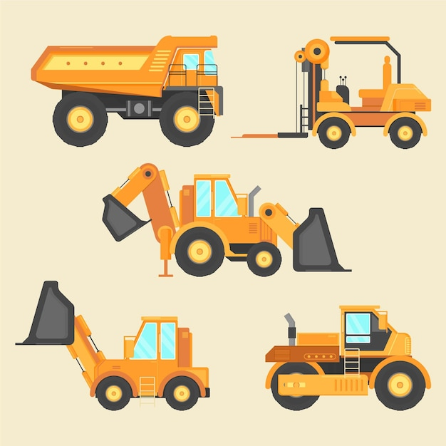 Excavator collection elements concept Free Vector