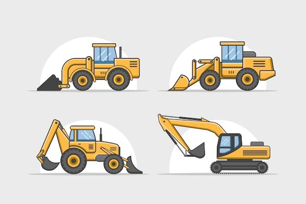 Collezione di costruzione di escavatori Vettore gratuito