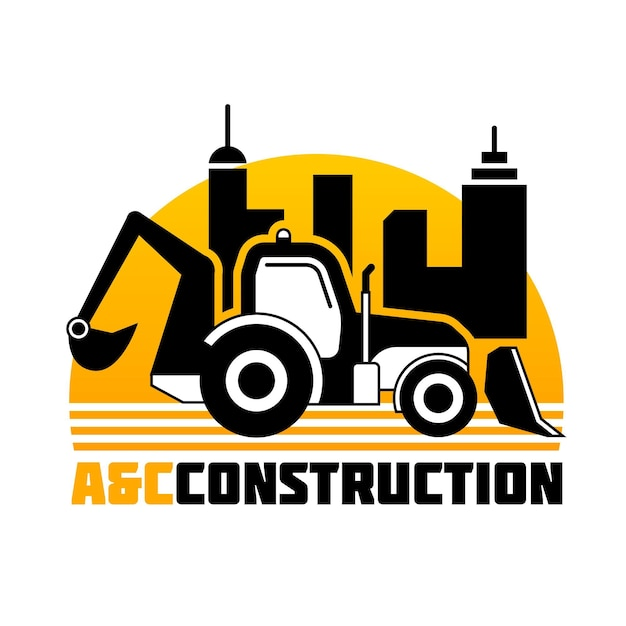 Excavator construction company logo template Free Vector
