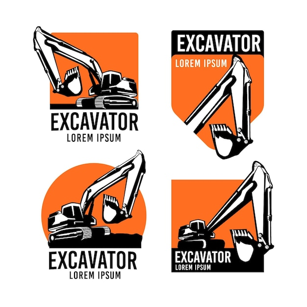 Excavator and construction logo collection Free Vector