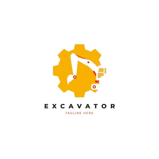 Excavator construction logo concept Free Vector