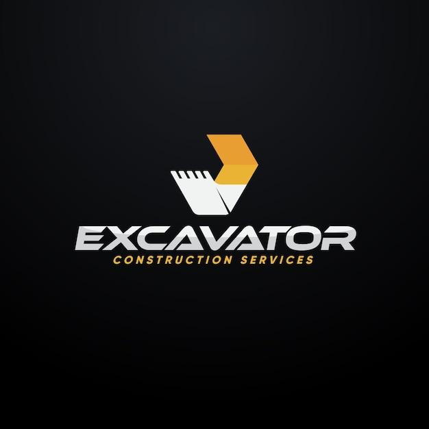 Excavator construction logo concept Premium Vector