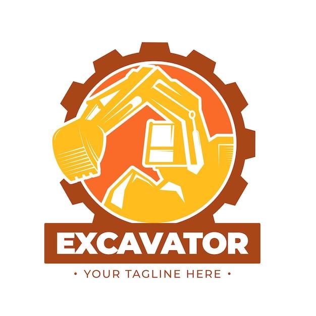 Concetto di logo di costruzione di escavatori Vettore gratuito