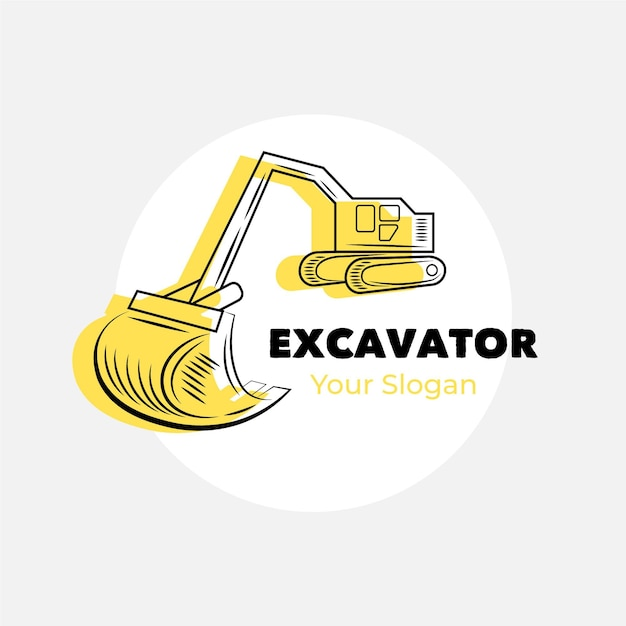 Excavator construction logo template Free Vector