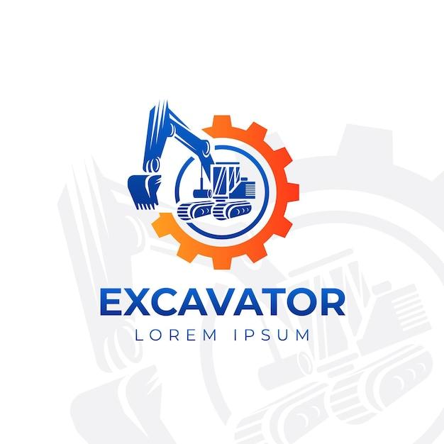 掘削機建設ロゴ Premiumベクター