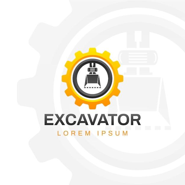 Logo di costruzione dell'escavatore Vettore gratuito