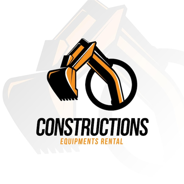 Excavator construction logo Free Vector