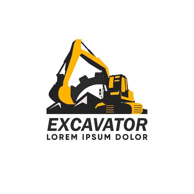 掘削機建設ロゴ 無料ベクター