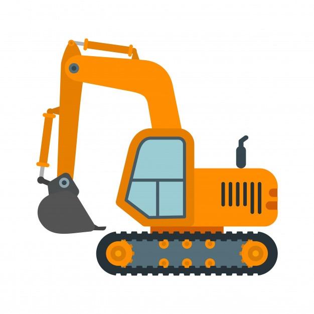 Excavator heavy machinery Premium Vector