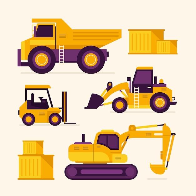 Pacchetto di disegno illustrato dell'escavatore Vettore gratuito
