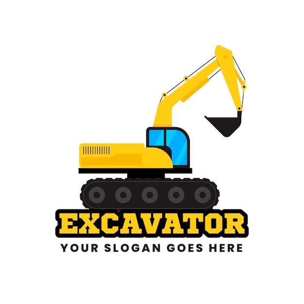 掘削機のロゴのコンセプト 無料ベクター