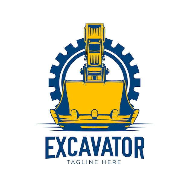 掘削機のロゴのコンセプト Premiumベクター