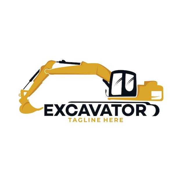 輸送および建築会社のために分離された掘削機のロゴアイコンのシルエット Premiumベクター