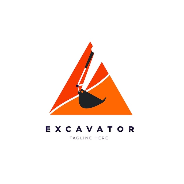 Excavator logo template design Premium Vector