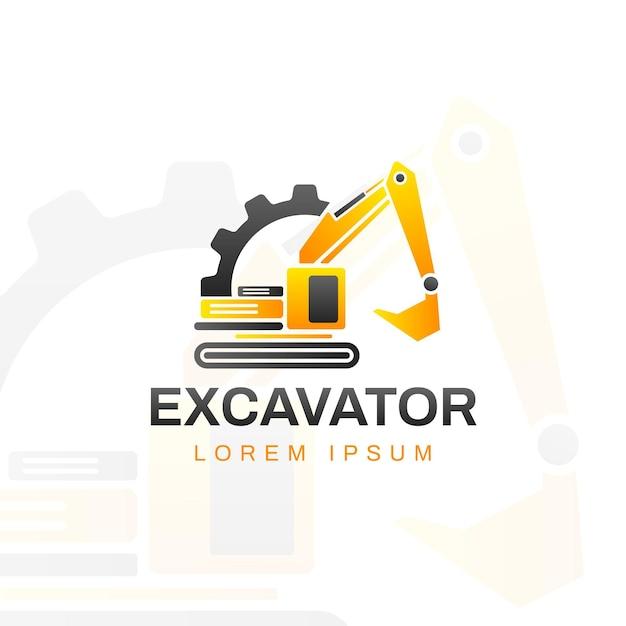 掘削機のロゴのテンプレート Premiumベクター