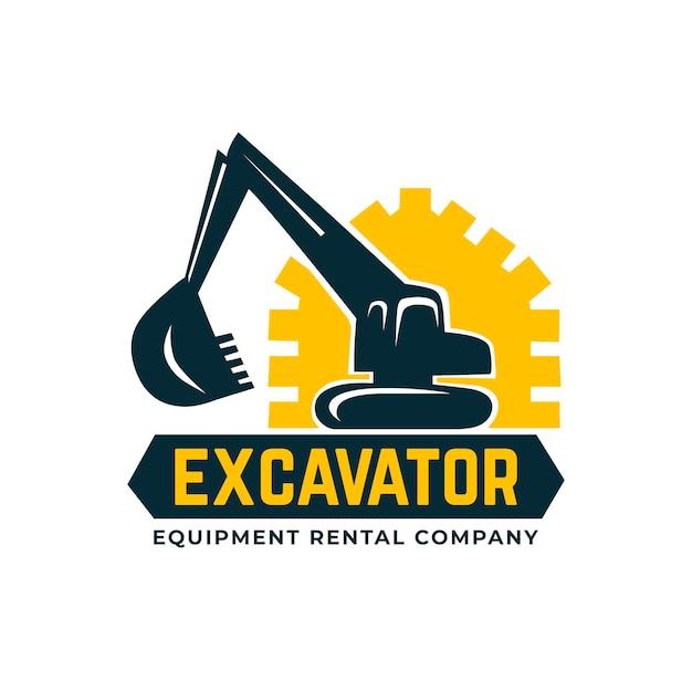 掘削機のロゴ Premiumベクター