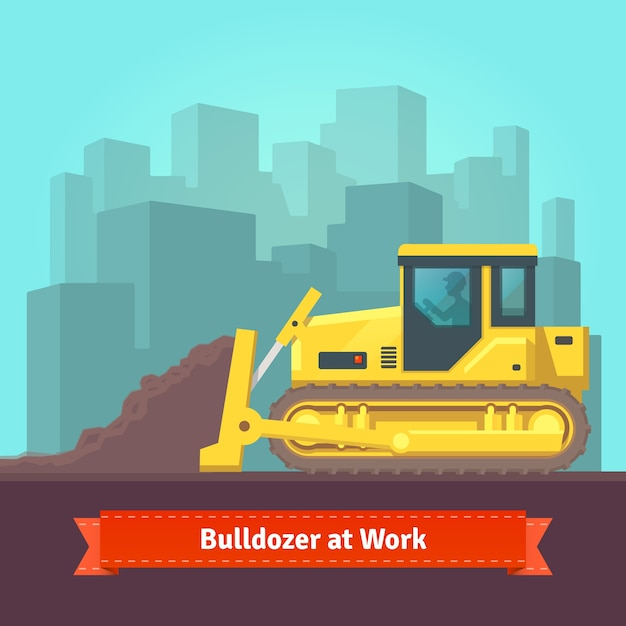 Excavator tractor levelling land Free Vector