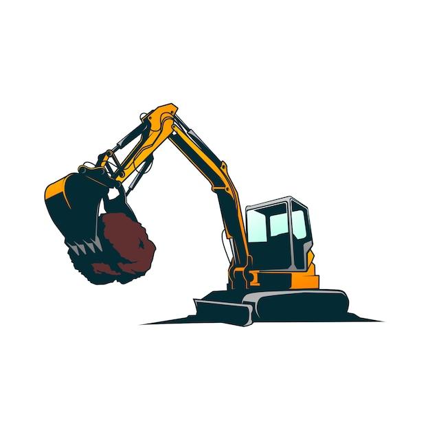 Excavator vector Premium Vector