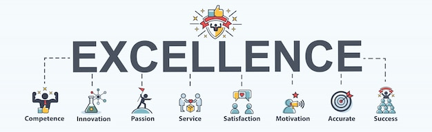 Excellence banner web icon for business Premium Vector