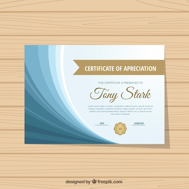excellence certificate with blue wavy forms vector free download