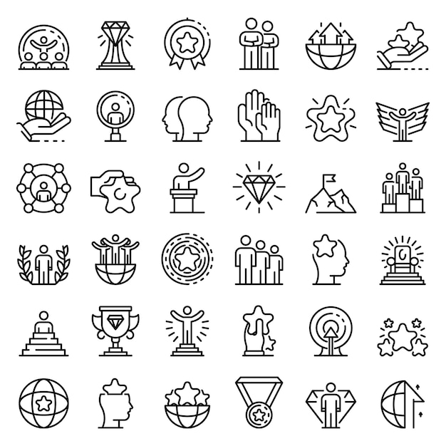 Excellence icons set, outline style Premium Vector