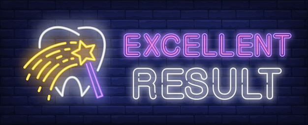Excellent result neon text with tooth and magic wand Free Vector