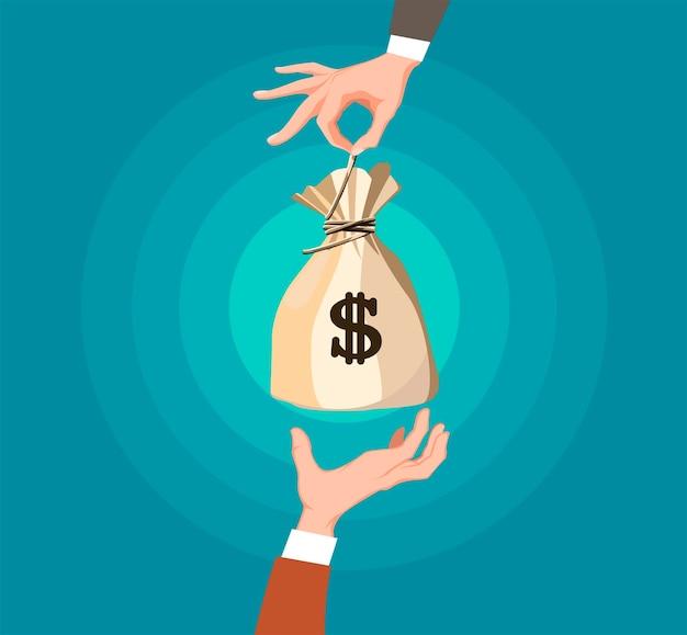 Exchange money concept in cartoon design. Premium Vector