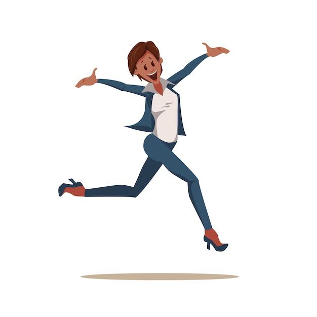 Excited coworker woman wearing pantsuit jump up Premium Vector