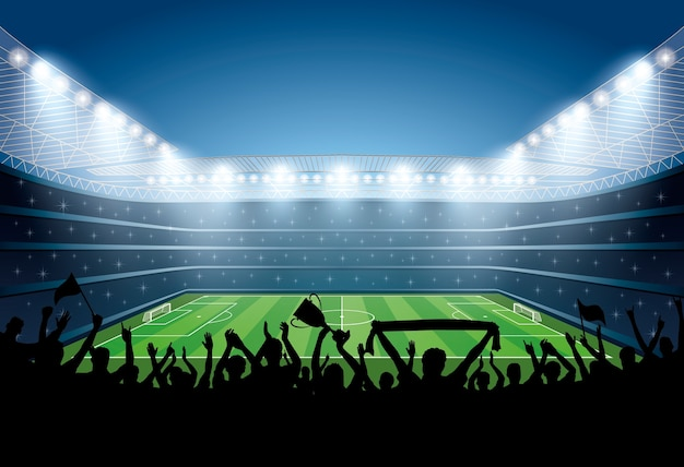 Excited crowd of people at a soccer stadium. Premium Vector