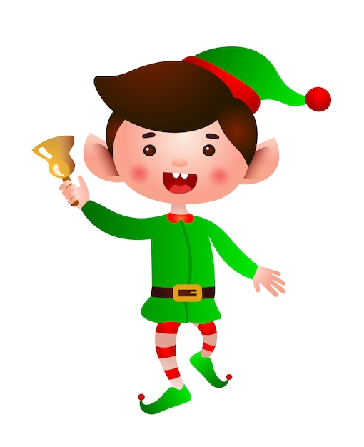 Excited elf jumping and ringing bell illustration Free Vector