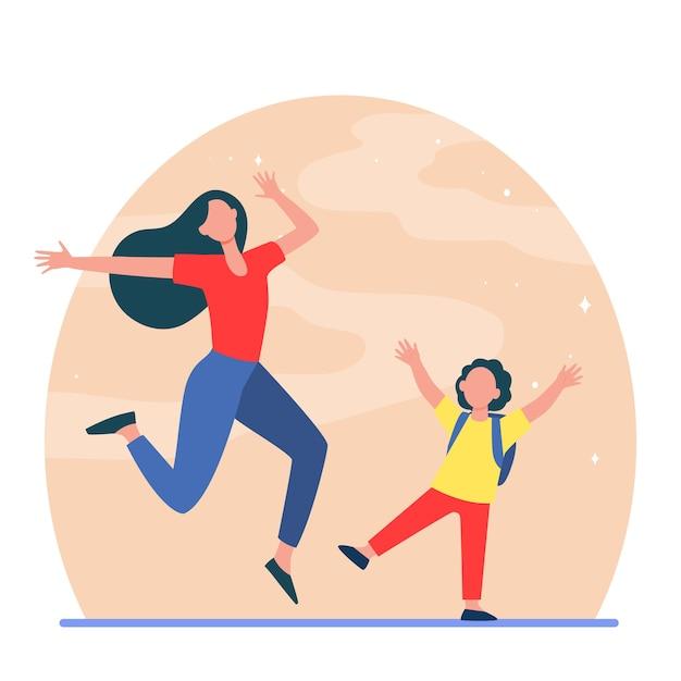 Взволнованные мама и сын веселятся. женщина и мальчик прыгают и танцуют плоскую иллюстрацию. Бесплатные векторы