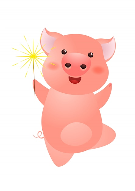 Excited pig holding sparkler Premium Vector