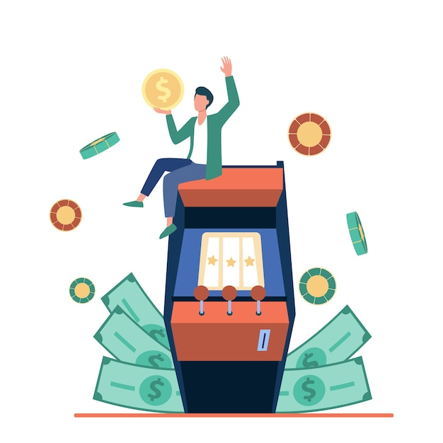 Excited tiny man enjoying victory in slot machine illustration. Free Vector