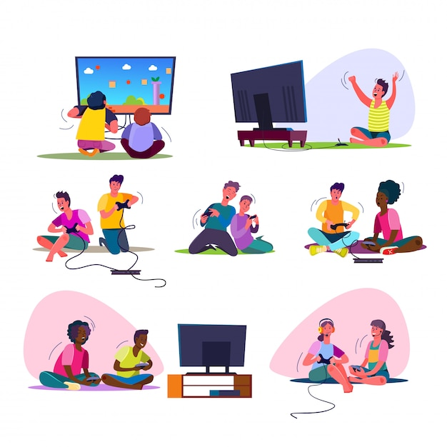 Excited video gamers set Free Vector