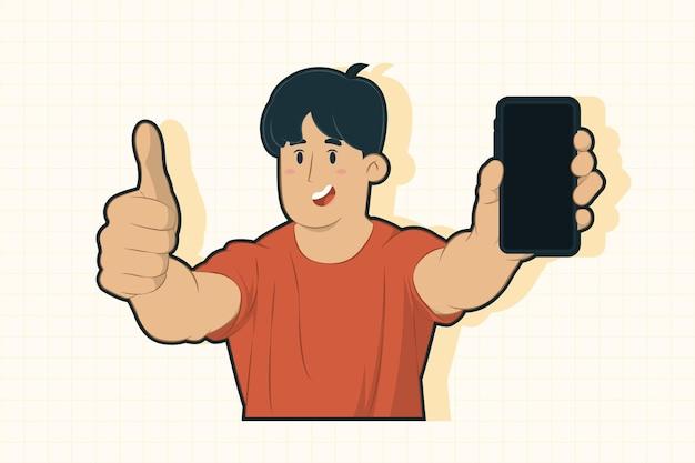 휴대 전화 개념의 디스플레이 보여주는 흥분된 젊은 남자 프리미엄 벡터