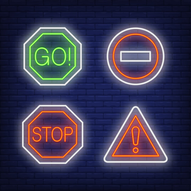 Exclamation mark, go and stop traffic neon signs set Free Vector