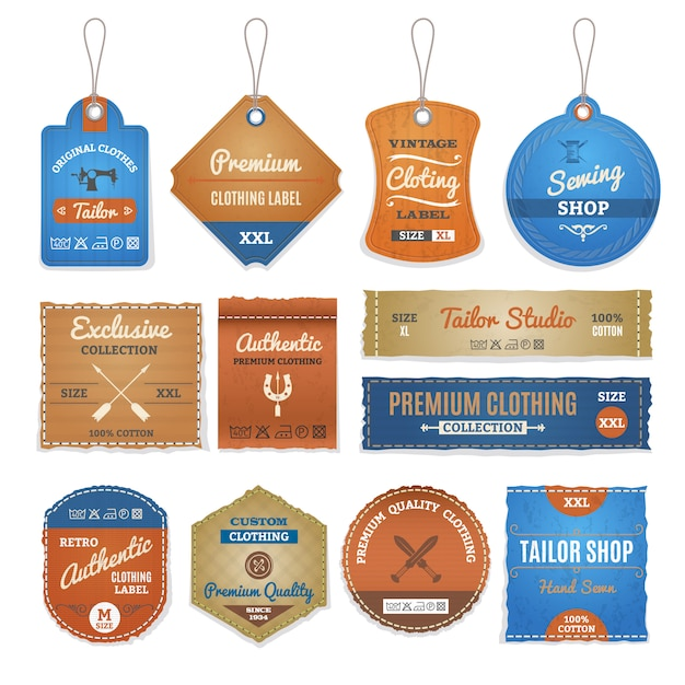 Exclusive clothing labels set Free Vector